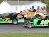 3-wide Sportsman Modified action with (top to bottom) Eric Lauziere, Lonnie Rivers and Jamie LaFountain