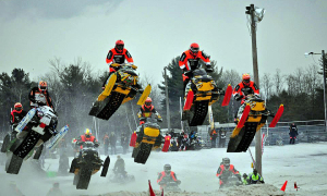 Seven Sleds in Flight